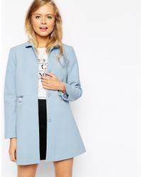 ASOS - Coat With Peter Pan Collar - Blue - Lyst