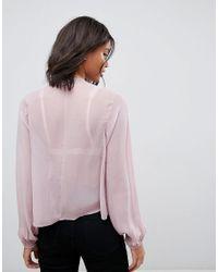 ASOS Pink Shirred Smock With V Neck