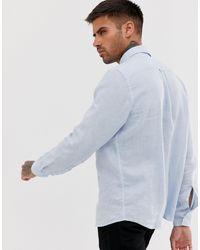 Evart - Chemise en lin avec logo ton sur ton - clair HUGO pour homme en coloris Blue