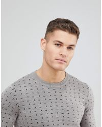Ted Baker - Gray Crew Neck Sweater With Print for Men - Lyst