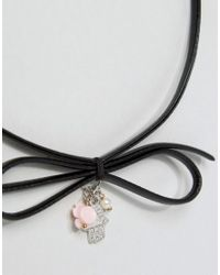 ASOS Black Hamsa Charm Bow Choker Necklace