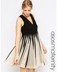 ASOS - Black Fit And Flare Dress In Mesh With V Neck - Mono - Lyst