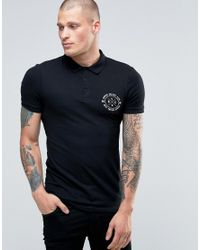 ASOS | Black Extreme Muscle Polo With Chest Print for Men | Lyst
