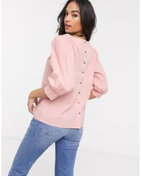 Vila Pink Poplin Top With Puff Sleeves And Back Detail