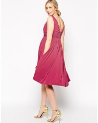 ASOS Pink Wedding Pleated Midi Dress With Drape Cowl Neck