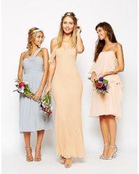 ASOS Natural Wedding Bias Cut Maxi Dress With Seams And Frill Sleeves