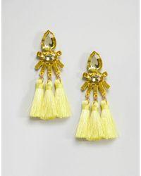 ASOS - Yellow Asos Teardrop Jewel And Triple Tassel Earrings - Lyst