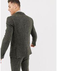 Chaqueta de traje de corte slim caqui en 100% lana de tweed Harris con estampado de cuadros pequeños ASOS de hombre de color Green