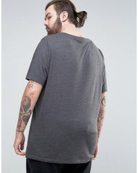 ASOS - Gray Plus Longline T-shirt With Scoop Neck for Men - Lyst