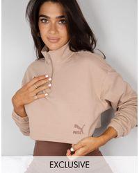 Светло-коричневый Укороченный Свитшот На Короткой Молнии X Stef Fit Эксклюзивно Для Asos-коричневый Цвет PUMA, цвет: Natural