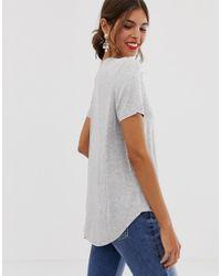 Oasis Gray T-shirt With Dip Hem In Grey