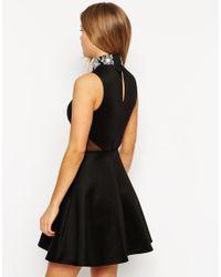 ASOS Black Embellished High Neck Skater Dress