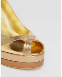 Terry De Havilland - Metallic Luna Gold Peep Toe Heeled Shoes - Lyst