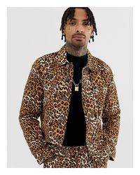 ASOS Brown Co-ord Leopard Print Denim Jacket for men