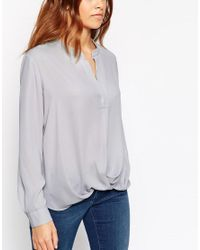 ASOS Gray V Neck Drape Wrap Blouse