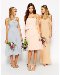 ASOS Natural Wedding Ruffle Dress With Tie Side Detail