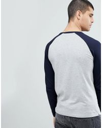 French Connection Gray Raglan Long Sleeve Top for men