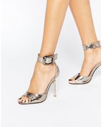 London Rebel Metallic Diana Ankle Strap Heeled Sandals