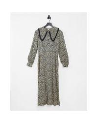 Монохромное Платье Миди С Принтом «зебра» И Воротником -многоцветный TOPSHOP, цвет: Gray