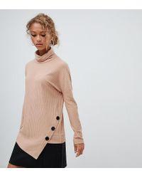 Maglione con collo alto cammello con bottoni di New Look in Gray