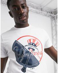 KTZ – MLB – New York Yankees – T-Shirt mit geteilter Grafik in White für Herren