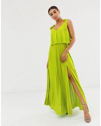 Vestito lungo a pieghe con to corto e laccetti sulle spalle di ASOS in Green