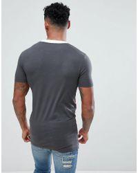 ASOS - Black Design Muscle Longline T-shirt With Colour Block & City Print for Men - Lyst