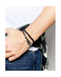 ASOS - Black Leather Bracelet Pack With Feather for Men - Lyst