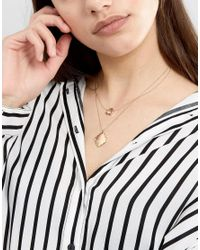 ASOS - Metallic Rough Cut Disc Multirow Necklace - Lyst