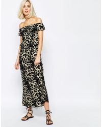 Vero Moda Black Leopard Print Off The Shoulder Maxi Dress