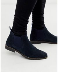 Red Tape Blue Navy Suede Chelsea Boot for men