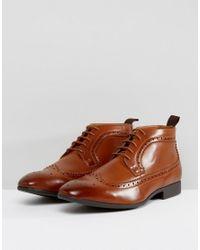 ASOS Brown Brogue Chukka Boots In Tan for men