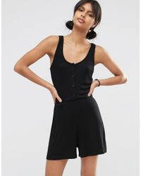 ASOS | Black Ribbed Button Through Lounge Romper | Lyst