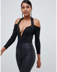 Lavish Alice Plunge Front Bodysuit In Black