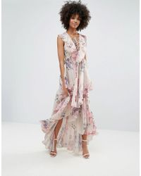 Y.A.S Pink Ruffle Floral Lace Up Maxi Dress