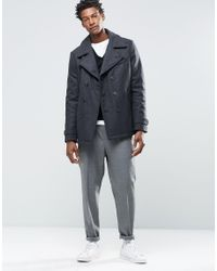 SELECTED - Gray Elected Merser Wool Mix Pea Coat for Men - Lyst