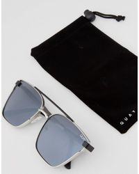 Quay Metallic Cassius Aviator Sunglasses In Siver Mirror for men