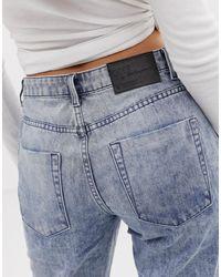 Truckers - Jeans dritti con frange sul fondo di One Teaspoon in Blue