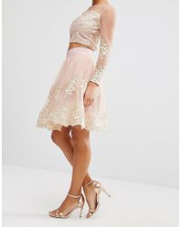 Chi Chi London - Pink All Over Premium Embroidered Full Prom Midi Skirt Co-ord - Lyst