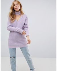 Glamorous Gray Relaxed Jumper With Cut Out High Neck