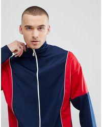 Красно-синяя Спортивная Куртка -темно-синий Reclaimed (vintage) для него, цвет: Blue