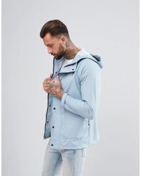 Another Influence Blue Rubberised Jacket for men