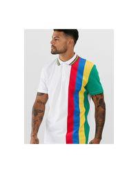 Polo à liseré avec color block arc-en-ciel ASOS pour homme en coloris White