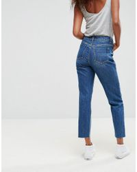 ASOS Blue Original Mom Jeans In Haillie Wash With Stepped Hem