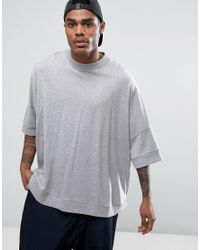 ASOS - Gray Extreme Oversized Slouchy T-shirt With Curved Hem In Grey Marl for Men - Lyst