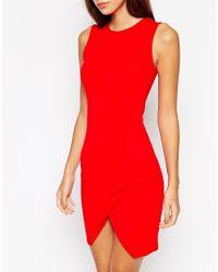 ASOS - Red Asymmetric Sleeveless Body-conscious Dress - Lyst