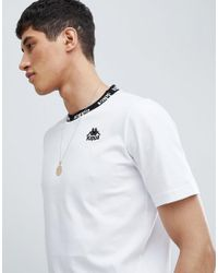 Kappa T-shirt With Neck Taping In White for men