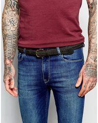 ASOS Super Skinny Leather Plaited Belt In Brown for men