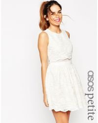 ASOS | Natural Lace Crop Top Skater Dress | Lyst