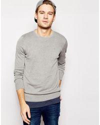 Blend | Gray Crew Knit Jumper Slim Fit for Men | Lyst
